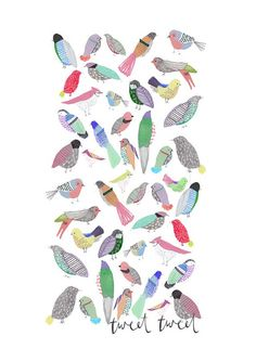 Children's Art. The Birdies. Limited edition art print by illustrator Amyisla. Illustration.