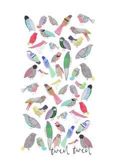 Children's Art. The Birdies. Limited door Amyislaillustration, $40.00