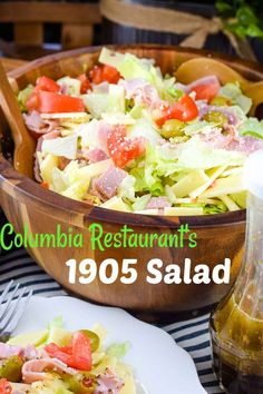 Columbia's 1905 Salad - crisp iceberg lettuce with julienne baked ham, Swiss cheese, tomato, olives, grated Romano cheese tossed with a garlic vinaigrette dressing. You can enjoy this original made famous by the Columbia Restaurant right at home! Savory Salads, Easy Salads, Summer Salads, Summer Food, Easy Meals, Main Dish Salads, Dinner Salads, Salad Dressing Recipes, Vinaigrette Dressing
