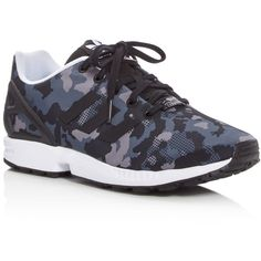 adidas Zx Flux Lace Up Sneakers ($73) ❤ liked on Polyvore featuring shoes, sneakers, black camo, laced sneakers, 80s sneakers, lacing sneakers, camo shoes and adidas footwear