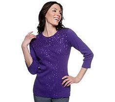 Quacker Factory Mini Sequin 3/4 Sleeve 1x1 Rib T-shirt