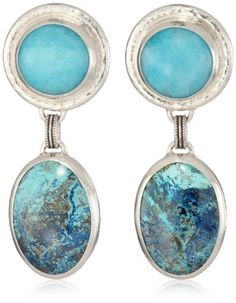 GURHAN  Silver and Gold Blue-Green Post Earrings