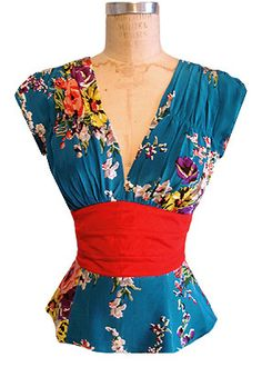 1940s Blouse in Turquoise Floral.