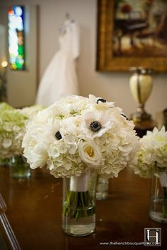 Bouquet Inspiration :  wedding anemones bouquet hydrangeas ivory roses