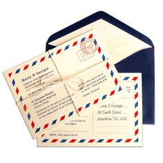 Eye catching and contemporary postal look invite printed on smooth cream card. Design features antique blue & red striped postal boarder with personalised stamps using the venue details. Finished with typewriter style font and finished with traditional white string.