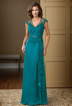 Jade Couture. An elegant option for your next special occasion. A V-neckline and A-line skirt come together to create a classic silhouette, and the beautiful Couture Satin Face Chiffon fabric is touched up with lace and beading on the bodice and sash.