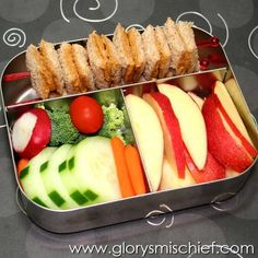 PB sandwich skewer, apple slices, and veggies (add hummus or ranch)
