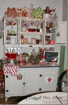 Sugar n' Spice Hoosier cabinet Gingerbread Christmas Decor, Christmas Booth, Retro Christmas Decorations, Christmas Kitchen, Christmas Past, Cozy Christmas, Primitive Christmas, Country Christmas, Vintage Christmas