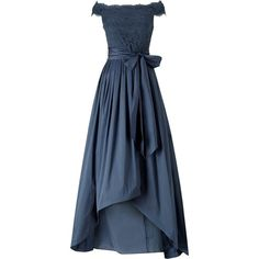 Adrianna Papell Off Shoulder Lace And Taffeta Gown, Navy (2,025 HKD) ❤ liked on Polyvore featuring dresses, gowns, maxi dresses, long-sleeve mini dress, long-sleeve midi dresses, navy blue gown and navy lace dress