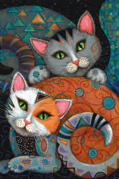 """♣Adapted from the artwork of Marjorie Sarnat, Kuddlekats has two adorable cats colorfully adorned with swirls and geometric shapes. Their eyes seem to be saying """"come play with us."""" Heaven and Earth Designs is dedicated to producing intricate cross stitch designs from the artwork of many talented artists. 400 x 512 stitches. On 25 count fabric over one thread the design is 16"""" x 20.375"""". Chart is coded for DMC floss.  Nordic Needle"""
