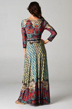 3/4 Sleeve Bohemian Full Length Paris Red Multicolor Maxi Dress - Niobe Clothing
