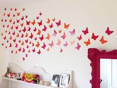 90 muurstickers vlinder in drie kleuren naar wens