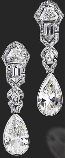 Art Deco diamond earrings, circa 1920....