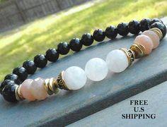 Calming, White & Peach Moonstone, Rainbow Obsidian, Yoga bracelet, mala bracelet, Moonstone bracelet, wrist mala, Reiki infused, wrist mala