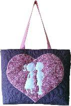 Gecko Fabric Art - applique quilted mini tote bag - kiss design
