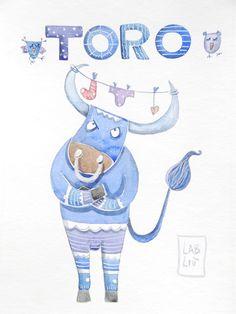 i 12 i segni zodiacali, illustrati ad acquerello #segnizodiacali #zodiaco #illustrazioni #acquerello #zodiacsigns #bull #zodiac #watercolor #illustration #etsy