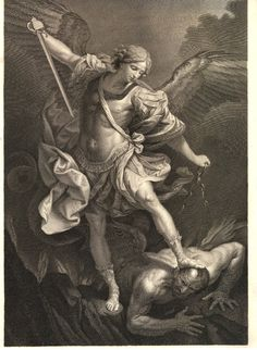 The archangel Michael casting down Satan, after Guido Reni; a proof before letters Engraving Archangel Michael Tattoo, St Michael Tattoo, Religious Tattoos, Religious Art, Saint Michael Angel, Guardian Angel Tattoo, Jesus Tattoo, Angel Sculpture, Christian Artwork