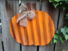 Halloween Fall Pumpkin Fat or Tall Hanging Wall Door Decor Tin Art. $30.00, via Etsy.