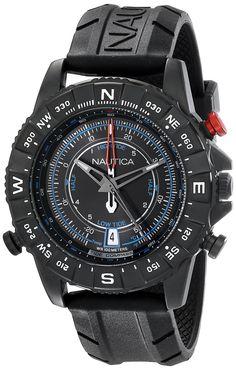Nautica Men's NAD21001G NSR 103 TIDE TEMP COMPASS Analog Display Japanese Quartz Black Watch