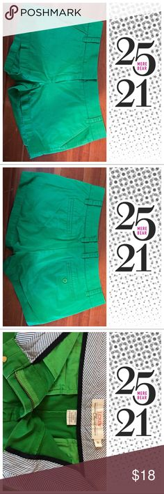 J crew green chino shorts J crew green chino shirts.  100% cotton.  Color matches closest to the third photo. J. Crew Shorts