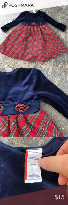 Velvet Plaid Christmas Dress (Long Sleeves!) This adorable little girls dress would be perfect for Christmas! Long sleeves, big ribbon tie in back with button closures in the back  and three rosettes in the front. It is nice and puffy-great for twirling!  😍   I can mail tomorrow if you Purchase today!! Dresses Formal