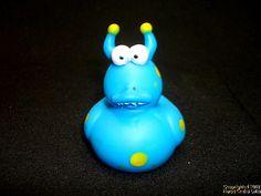 "Rubber Duck, MONSTER, Blue Horns, Bulging Eyes, Duckie, NEW, 2"", Gift Tie, Party Favor, Hot Tub"