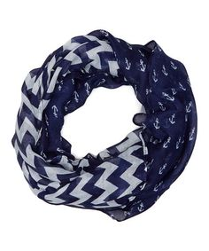 Another great find on #zulily! Navy Chevron Anchors Infinity Scarf by Frankie & Stein #zulilyfinds
