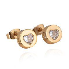 8mm 18K Gold Plated Fashion Jewelry Inlay Heart Ziron Women Ladies Copper Earrings