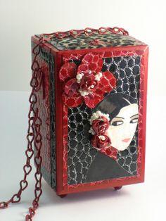Purse/Box - Upcycled Red and Black Leather Cigar Box - Maja con Ojos Brujos