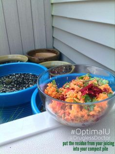 Do you remember (I hope) a few weeks ago, I had an #OptimalU about juicing? Today's takeaway corresponds with it, and is found on page 219: Find a sunny location for a garden (space permitting). Obtain quality soil and add compost throughout the year. Put the residue from juicing into your compost. #health #tip #juicing