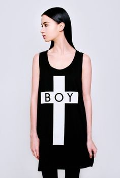 Long Clothing x Boy London Collaboration Black and White Boy Cross Vest Unisex One Size, Oversize Fit Imported from the UK 100% Cotton