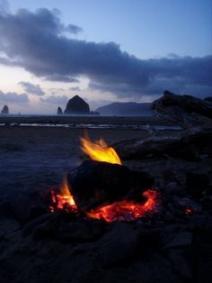 Bonfire on a cool night at Oregon Beach  http://www.oregonbeachvacations.com/