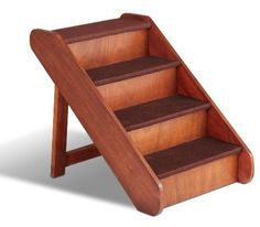 Solvit PupSTEP Wood Pet Stairs, Extra Large Beautiful wood construction with rich, walnut stain Best for larger pets or any pet trying to reach a tall bed Folds down for storage or transport Tested to support over 200 lbs No assembly required Dog Stairs, Wooden Stairs, Dog Ramp, Craft Fair Displays, Craft Booths, Booth Displays, Display Ideas, Pet Steps, Soap Display