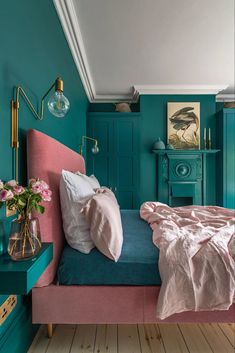 Loving this bright bedroom decor! This London Edwardian home was renovated into a contemporary, colorful, and eclectic family home that is both functional and fabulous for modern family life. for bedroom wohnung decoration dekorieren einrichten ideen Green Bedroom Decor, Bedroom Wall Colors, Teal Bedroom Walls, Teal Bedrooms, Best Colour For Bedroom, Eclectic Bedroom Decor, Bright Bedroom Colors, Blue And Pink Bedroom, Green Bedroom Design