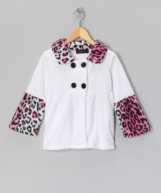 Take a look at this White & Pink Leopard Bell-Sleeve Fleece Swing Coat - Girls by Giovanni on #zulily today!