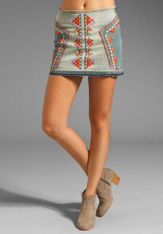 Brand New NWT Free People Blue Embroidered Aztec Fringed Denim Mini Skirt Size 2