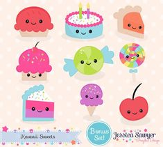 Kawaii Drawings, Cute Drawings, Kawaii Planer, Planner Stickers, Cake Clipart, Food Clipart, Kawaii Dessert, Crisp Image, Kawaii Cute
