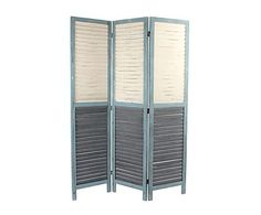 Biombo en madera, azul y gris - 120x170 cm