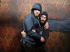 Bro's gotta huddle together in Nightmares to stay safe! http://www.nightmaresfearfactory.com/fear-pic-saturday-december-13-2014 #NFF #FEARpic #funny #Bro #ScareBro #scared #picture #haunted #house #horror #scare #fright #otd #niagara #falls