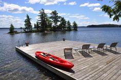 Evergreen Point. Lake Rosseau, Muskoka. Swimming dock.
