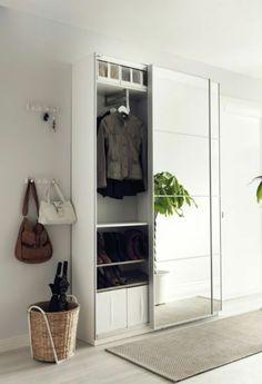 Ikea PAX wardrobe for storage in the hallway. Ikea Hallway, Hallway Storage, Storage Mirror, Storage Room, Ikea Entryway, Hallway Closet, Front Closet, Ikea Storage, Bedroom Organization