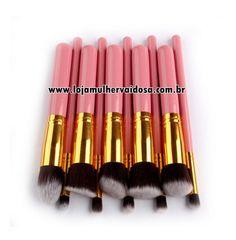 Kit com 10 pincéis HD - Rosa