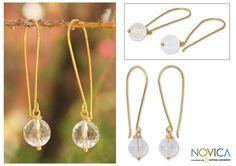 Novica Overlay 'Songkran Moon' Quartz Earrings