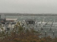 Champlins during the storm. That's the dock house bar, totally submerged. :(