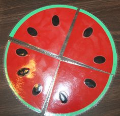 Paper watermelon for teaching fractions