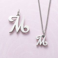 For the letters A through Z, this sterling silver letter charm design is a convenient way to give a thoughtful and personal gift. M Letter, Letter Charms, Alphabet Necklace, Initial Necklace, Creative Engagement Announcement, Stylish Letters, Stylish Alphabets, M Tattoos, Shabby Chic Painting