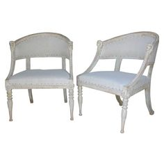 A Swedish late Gustavian pair of armchairs in lightly refreshed original paint…