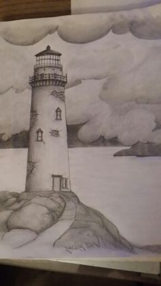 Lighthouse with small sailboat. Pencil draw with some little yellow in small paper made by Makis(aka Kosmas). For more drawings visit my… - New Pin Shading Drawing, Pencil Sketch Drawing, Art Drawings Sketches Simple, Dark Art Drawings, Sketchbook Drawings, Pencil Art Drawings, Easy Drawings, Sketching, Lighthouse Drawing