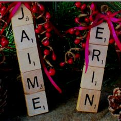 Adorable Christmas ornaments! Scrabble names