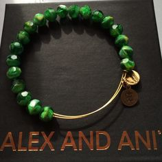 "ALEX AND ANI ""Sunburst Lime Green"" Beaded Bracelet Sunburst Green beaded bracelet in Russian Gold. Retired and rare, in Excellent condition, worn only a few times. Alex & Ani Jewelry Bracelets"